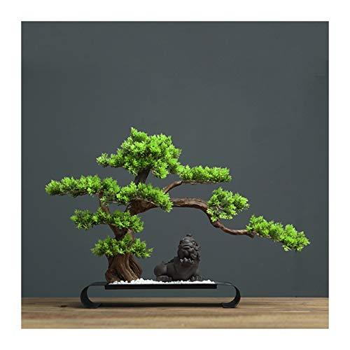 Árbol de Bonsai Artificial Plantas de árboles de bonsáis artificiales con arenisca blanca y base de metal soporte de mesa interior artificial artificiales ornamentos for la oficina en casa (verde) Pla