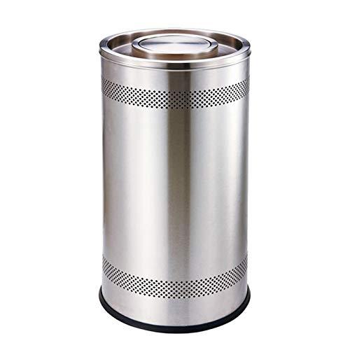 LOMJK Cubo de basura para interiores y exteriores, con barril interior de acero inoxidable para cocina, hotel, clamshell reciclaje, papelera, papelera (color: plata)