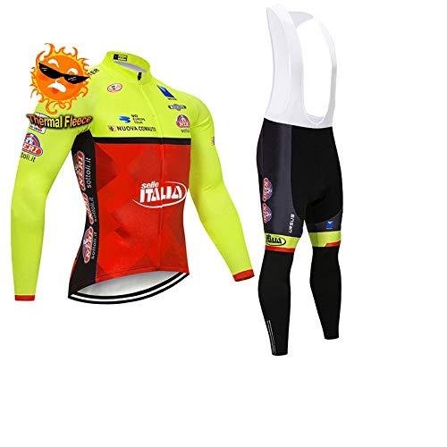ADKE Invierno Conjunto Traje de Ciclismo Manga Larga para Hombre, Maillot de Bicicleta y Pantalones de Ciclismo con Acolchado 5D, Térmico Ropa MTB