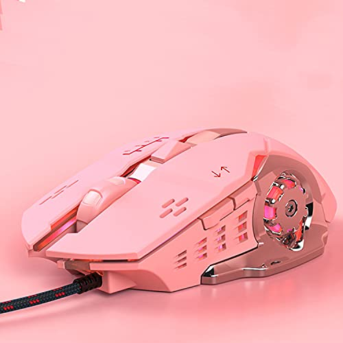 Souris Gaming RGB Programmable 5 Boutons Ergonomique LED Rétroéclairé USB Gamer Souris Ordinateur Portable PC pour Windows Mac OS Linux Rose