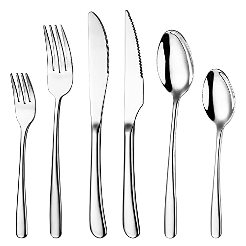 Massampton 48 Piece Silverware Flatware Set,Stainless Steel Cutlery with Steak Knives for 8, Mirror Finished, Dishwasher Safe