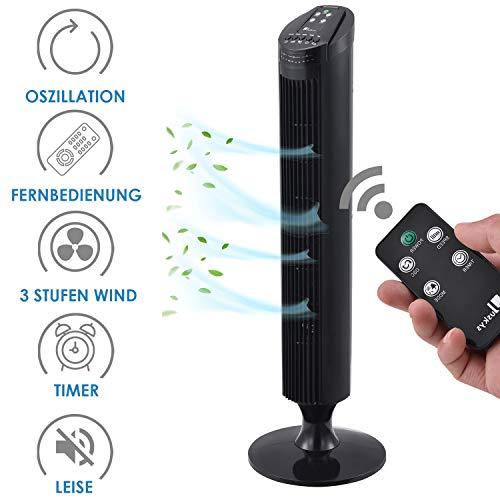 Juskys Turmventilator ColdWind leise mit Fernbedienung, Oszillation & Timer – Standventilator 50 Watt 84 cm - Ventilator 3 Geschwindigkeiten - schwarz