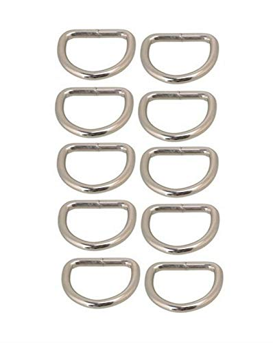 AKORD D-Rings for Bag or Purse Handles, Silver, 25 mm, Pack of 10