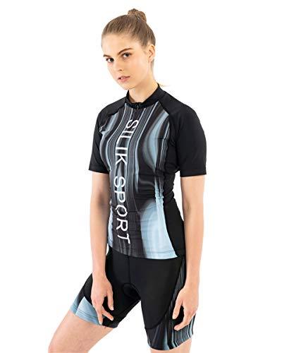 SILIK Damen Fahrradtrikot Rennrad Kurzarm Oberteil T-Shirt Mountain MTB Geschenk Downhill Bergatmungsaktiv 01 Schwarz XX-Large
