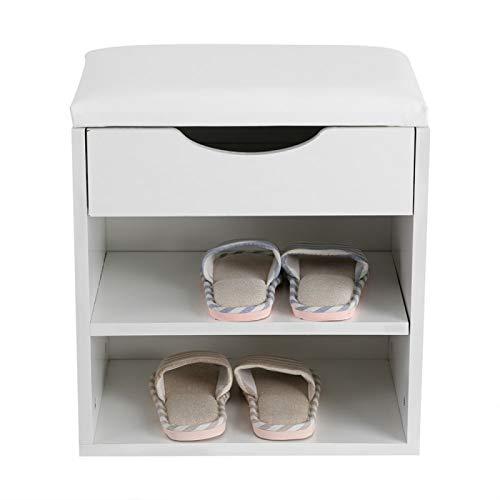 Zapatero HDF + PU, para entrada, pasillo, zapatos, organizador de almacenamiento de zapatos de madera, asiento acolchado, silla Krukjes, Taburetes Modernos, color blanco, 40,5 x 30,2 x 42 cm