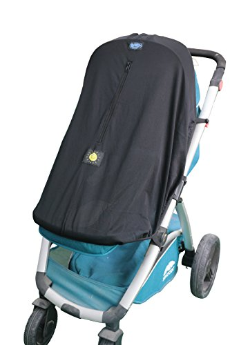 Baby Sunshade Stroller Cover - Universal Fit Sun Shade for 3 & 4 Wheel Prams, Pushchairs and Srollers - UV Protection (Black)