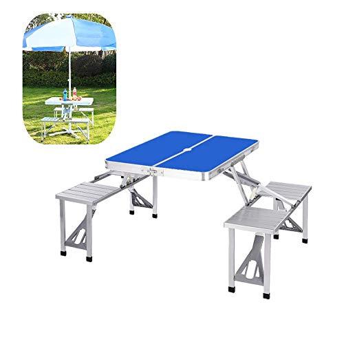 Folding plakken Tabel Utility Tafel voor otdoor Garden Park Camping Party Picnic, Schraag Picknickstoel Bureau met Yard Umbrella geïnstalleerd Hole,Blue