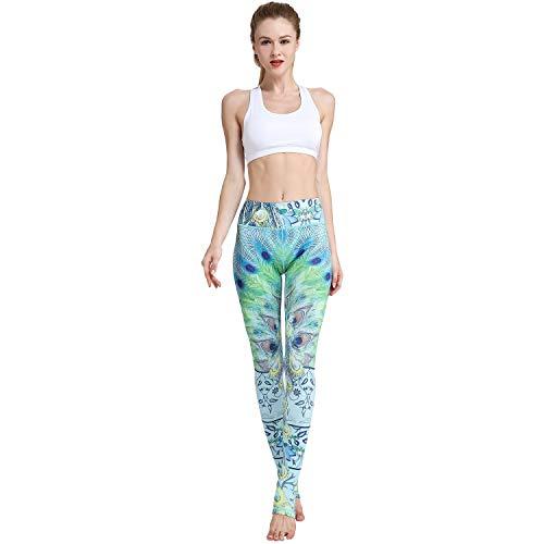 TERODACO Pantalones de Yoga Estampados de compresión para Gimnasio, Correr, Mujeres y niñas - Verde - Medium/Etiqueta Large (Cintura : 26.8''; Cadera : 32.7')