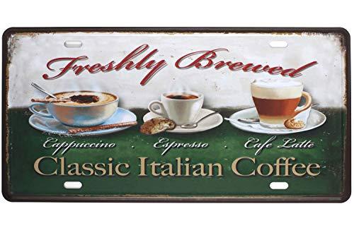 SIGNCHAT Classic Italiaanse Koffie Cappuccino Espresso Café Latter, Metalen Blik Sign, Vintage Kunstplaat Metalen Blik Teken 8X12 inch