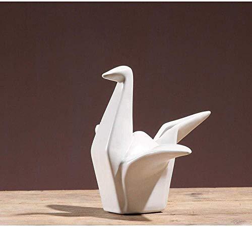 Escultura Estatua Estatuilla de Arte de grúa de Origami Blanca de cerámica Minimalista, Adornos coleccionables, estatuillas de Manualidades de Escritorio para Regalo de decoración del hogar