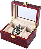 JWCN 3 Gitter Holzuhrgehäuse Transparente Abdeckung Schmuckschatulle Organizer Uhr Display Box...