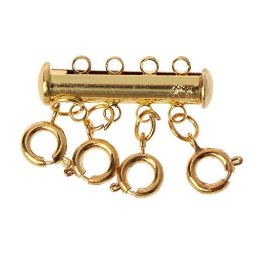 junengSO Conectores de botón, Cierres de hebras múltiples Collar de Cierre de Langosta Conectores de joyería con Bloqueo de Tubo magnético