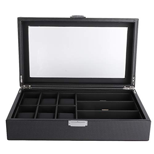 Negro PU 6 Slot Glasses 3 Slot Watch Storage Box, Display Organizer Case Container Eyeglass Sunglass Storage Box para Hombres y Mujeres Negro