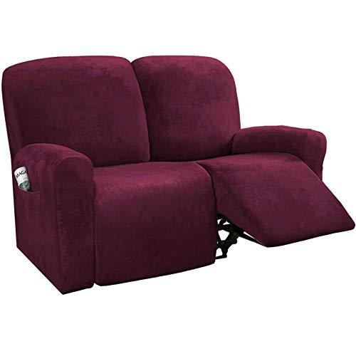 Stretch-Samt-Bezug für 1-, 2-, 3-Sitzer, Liegestuhl-Bezüge für Leder und Stoff, rutschfest, mit Seitentasche, für elektrische Liegestuhl, Burgunderrot, 2-Sitzer, 6-teilig