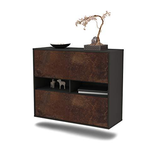 Dekati dressoir Jackson hangend (92 x 77 x 35 cm) corpus antraciet mat | front roestig industrieel design | Push-to-Open
