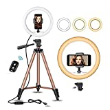 10' Selfie Ring Light with 50' Extendable Tripod Stand & Flexible...