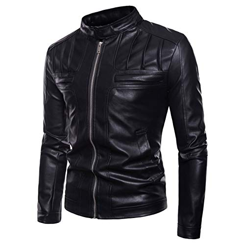 Mr.BaoLong&Miss.GO Autumn and Winter Mens Large Size Leather Jacket Mens Fashion Motorcycle Stand-up Collar Leather Mens Jacket Mens Casual Jacket Black