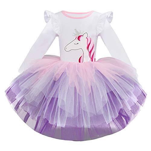 Vestido de Tul Niña Manga Larga con Lentejuelas Unicornio Imprimiendo Algodón Tutú de Niño Fiesta Princesa Casual Vestidos 4Años
