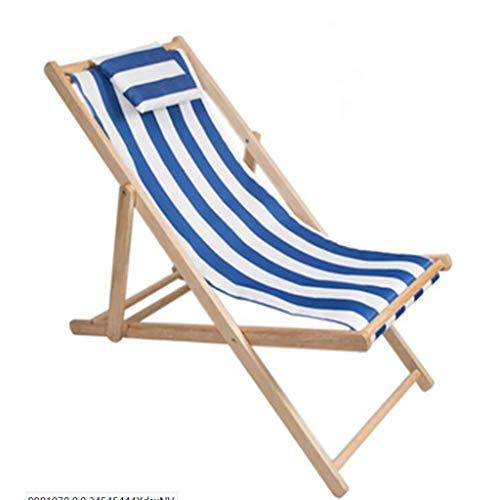 Silla De Playa De Madera Plegable Chaise Chaise Chaise,tumbona Ajustable,protable Lona Al Aire Libre Silla Perezosa Chaise Para El Jardín Del Patio De La Piscina Blanco Marino 130x60x5cm(51x24x2inch)