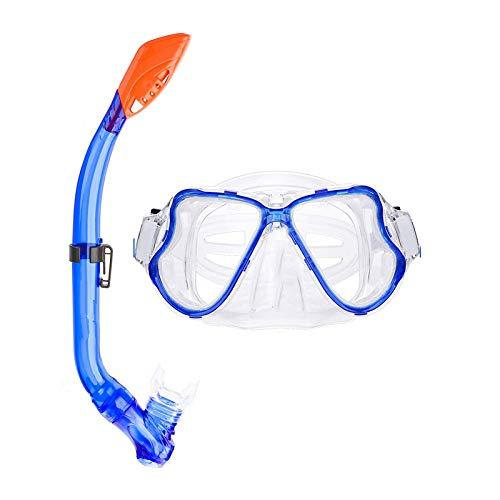RatenKont Kits de máscara de Cara Completa Gafas de Snorkeling RESPIRADOR SIN Agua Ajuste Conjunto DE Nombres Equipos DE BURGANTE para NIÑOS Blue
