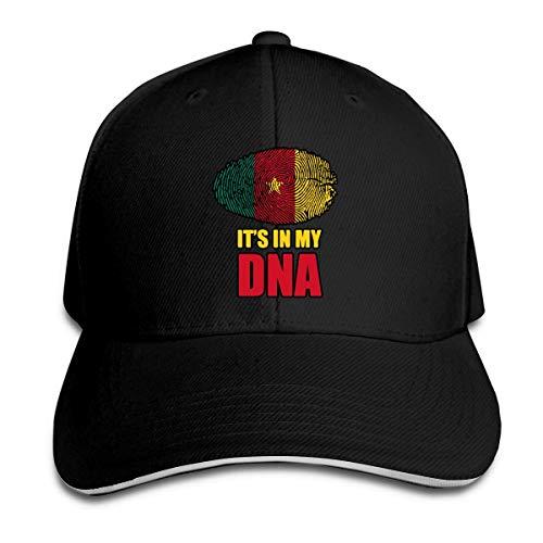 Gorra de béisbol Unisex Camerún Está en mi ADN Sombrero Plano de algodón Ajustable Vintage Sports & Outdoor Gorras Negro Red Rojo 19356