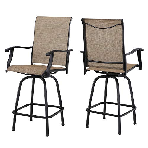Sophia & William Swivel Bar Stool 2 Pack All Weather Furniture Set Patio Bar Chairs with Breathable Textilene