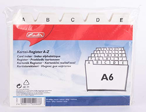 Herlitz A6 A Z Index Card Register White