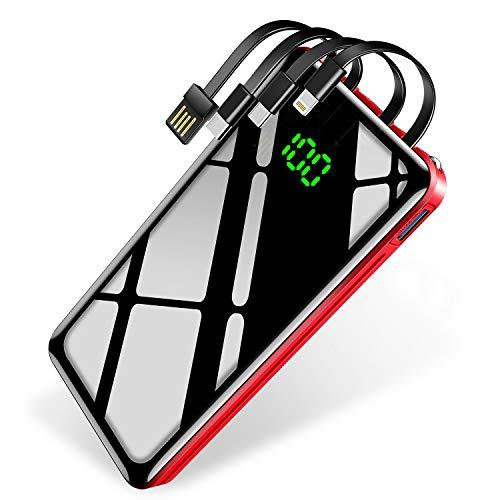 【30000mAh & ケーブル内蔵 & PSE認証済】KYOKA モバイルバッテリー 大容量 急速充電 LCD残量表示 (Lightning/Micro USB/Type-C/USB入力 4種類ケーブル内蔵) 4台同時充電 2個LEDライト 最大2.1A出力 鏡面仕上げデザイン スマホ充電器 災害/旅行/アウトドア用 防災グッズ iPhone/iPad/Android各種他対応 (レッド)