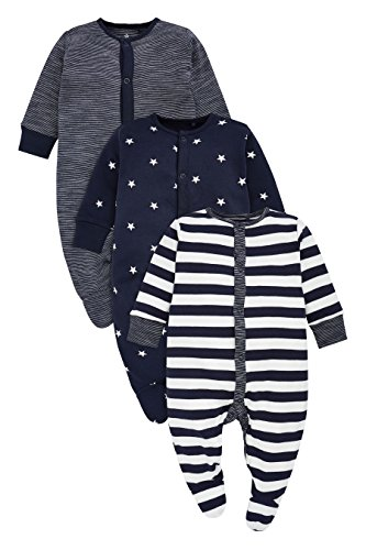 next Baby Jungen Schlafanzüge Streifenmuster/Sternenmuster 3Er Pack (0 Monate Bis 2Jahre) Marienblau/Weiß Hasta 3 Monate