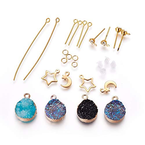 Craftdady - Juego de 7 pares de pendientes - Colgantes de resina drusa con dijes de borde y luna y anillos abiertos y pendientes con diamantes de imitación y pasadores de ojo