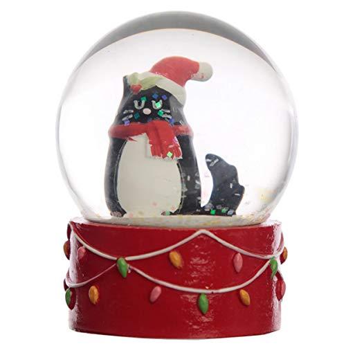 Puckator Glaskugel mit Schneefall - Katze schwarz Weihnachten Geschenkidee
