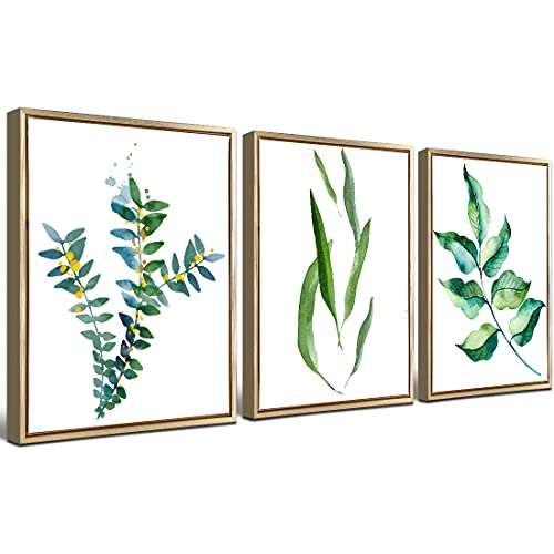 Loomarte Plant Wall Art Canvas Prints Set of 3 Green Wall Decor Watercolor Photo 12'x16' Modern Minimalist Green Leaves Olive Branch Boho Botanical Paintings Bedroom Bathroom Artwork with Gold Frame