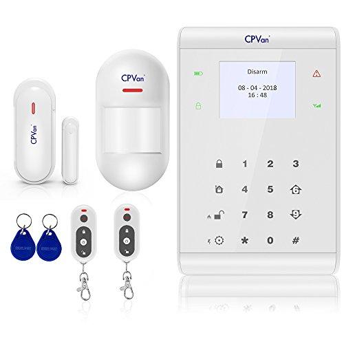 CPVAN Funk Alarmanlage, Komplettsystem mit Bewegungsmelder, Tür- und Fensterkontakt, Fernbedienung, RFID, und App Steuerung im Haus, Büroräume
