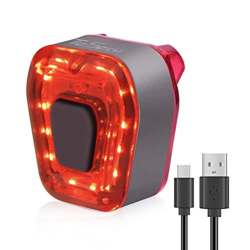 TESECU Luz Trasera de Bicicleta Led Recargable USB, Linterna Bicicleta Impermeable con 5 Modos de iluminacion,Fácil de Instalar,Luz Trasera Bicicleta Potente Led de Alta Brillo para Bici de Carretera