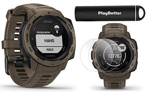 Sale!! Garmin Instinct Tactical (Coyote Tan) Outdoor GPS Watch Power Bundle | with HD Screen Protect...