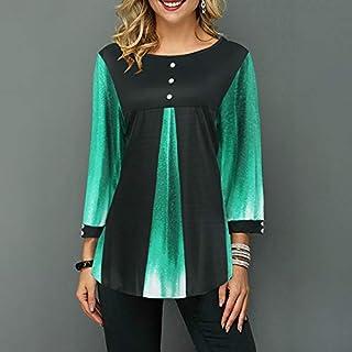 Funien Women Blouse Splice Color Block Round Neck Long Sleeve Loose Button Asymmetry Hem T-shirt Tee Tops