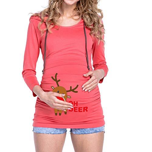 YWLINK Damen Weihnachten Rudolf Pullover Mutterschaft Stillen Oberteile LangäRmelige Schwangere Kapuzenbluse Sweatshirt(L,Rosa)