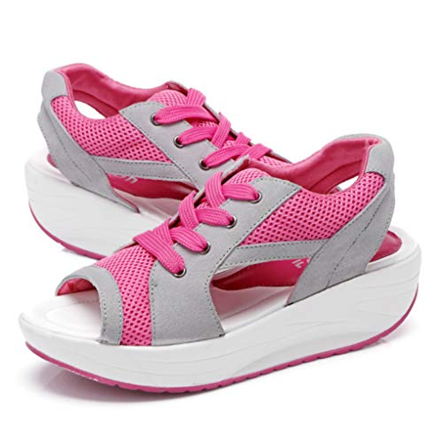 Mujeres Casual Plataforma Sandalias de cuña Peep Toe Fashion Mesh Lace Up Tobillo-Wrap Calzado Deportivo
