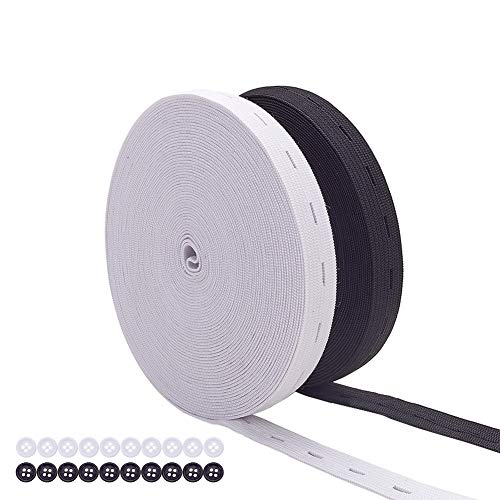 BENECREAT 18m 15mm Fascia Elastica in Bianco e Nero con Asola e 20 Bottoni Nastro Elastico Cintura Elastica Resistente per Cucito a Maglia Artigianato Fai-da-Te 9m / Colore
