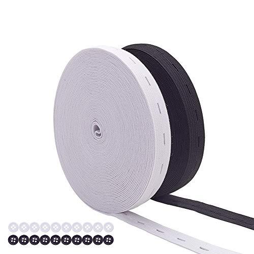 BENECREAT 15mm 18 Meter/20 Yards Elastic Stretch Band Knopfloch Strickgummiband und 20 STÜCKE Harz Knöpfe für Röcke Shorts Hosen Taille Anpassung (9m Weiß, 9m Schwarz)