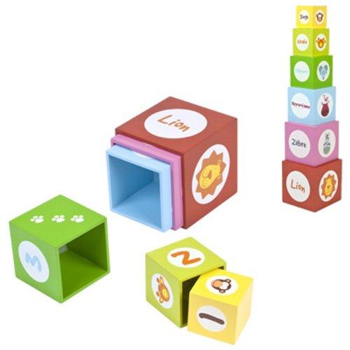 Logitoys - BJ0084YJ - Jeu éducatif premier âge - 6 Cubes Gigognes Jungle