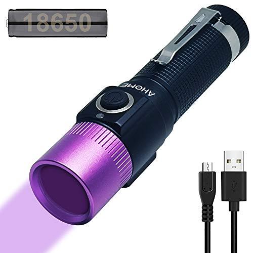 AHOME V10S - Linterna UV de 365 nm (cabeza morada) y recargable por USB, luz negra ultravioleta, buscador de escorpión y detector de orina de mascotas con batería de 3000 mAh y cable de carga ⭐