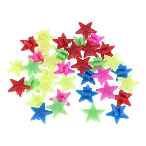 VOSAREA 36 Stücke Stern Speichenperlen Speichenclips Speichenklicker im Dunkeln Leuchtende Fahrradperlen Kinderfahrrad Zubehör für Kinder Roller Speichen Dekoration