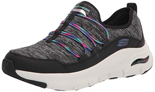 Skechers Women's Arch FIT-Rainbow View Sneaker, Black/Multi, 11 M US