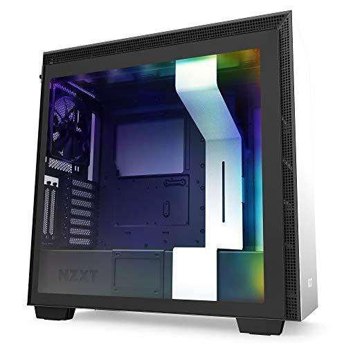Nzxt H710i - Caja PC Gaming Semitorre ATX - Panel frontal E/S Puerto USB de Tipo C - Montaje Vertical de la GPU - Iluminación RGB Integrada - Preparado Refrigeración Líquida - Blanco/ Negro