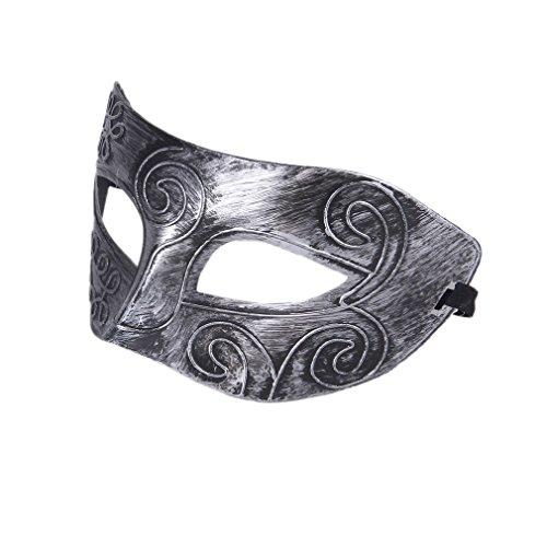 La Vogue Masque Femme /Homme Vintage Masque Vénitien Mascarade Carnaval Déguisement Cosplay 17cm*7.5cm (argent)