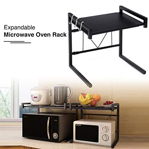 GEMITTO Microwave Oven Rack, Expandable Carbon Steel Microwave Shelf, Kitchen Counter Shelf, 2 Tiers with 3 Hooks, 55lbs Loading Bearing (40~60x36x42cm/ 15.8~23.6'x14.2'x16.5') Black