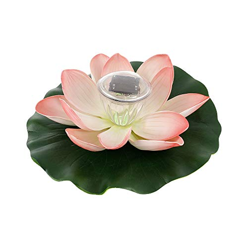 Solar Powered LED Lotus Flower Light , RGB IP44 Water Resistant Lotus Lamp Solar Floating LED Garden Pool Light with Auto On/Off for Outdoor Garden Pool Party ,Fish Tank Decoration (Pink)