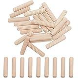 """smseace 120PCS Scanalatura dritta Perni di legno con estremità affusolata con angolo smussato,5/16""""x 1-1/2"""" (8mm x 40mm) Perni di legno, utilizzati per artigianato, mobili, manuale fai-da-te"""