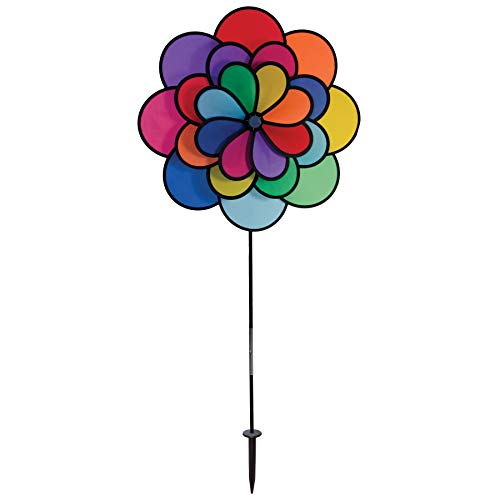 In the Breeze Best Selling Triple Wheel Flower - Ground Stake Included - Colorful Wind Spinner for your Yard or Garden